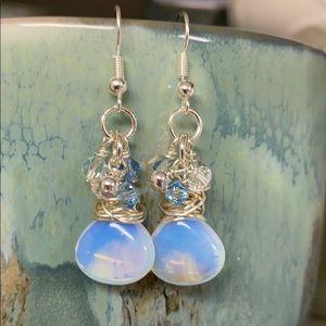 NWOT clusters opalite pear blue Swarovski crystals